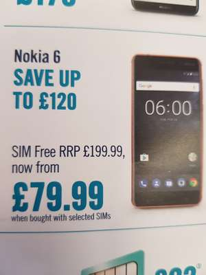 Nokia 6 now only £79.99 +£10 top up so £89.99 in total at carphonewarehouse * when bought with selected sims