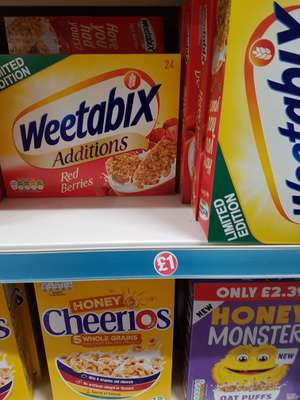 24 back of Weetabix Additions - Poundland £1