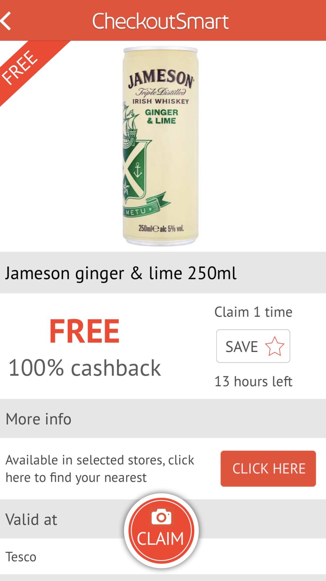 checkoutsmart free jameson ginger & lime 250ml @ tesco £1.80