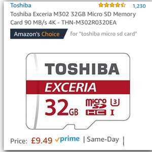 Toshiba Exceria M302 (Ultra 3) 32GB Micro SD Card 90 MB/s 4K £9.49 (Prime) / £13.48 (non Prime) at Amazon