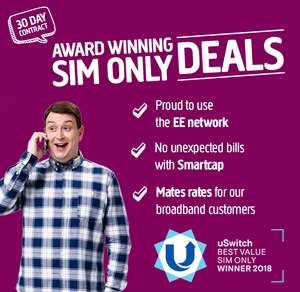 Plusnet 6Gb 4G Data - Unlimited mins/txts - 30 days SIM - £11pm