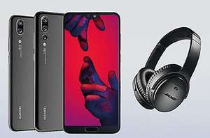 Huawei P20 128GB Black with  4gb data, Unlimited minutes & texts using BIG50 and  Claim FREE Bose Wireless Headphones as well at Mobiles.co.uk - Term £701