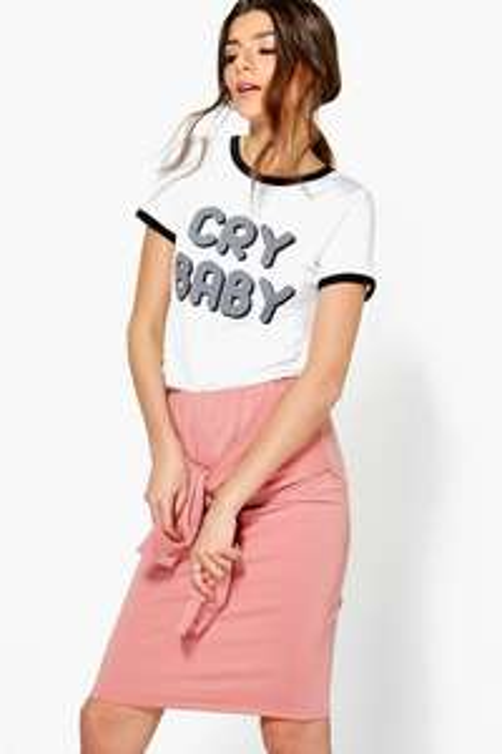 Upto 80% Off Flash Sale at Boohoo + £1.50 NDD w/code eg Tahira Tie Waist Loopback Midi Skirt was £14 now £1
