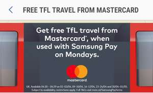 Free TFL Travel on Mondays in April @ Samsung Pay (for Mastercards from eligible banks)