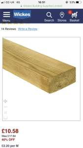 Wickes treated kiln dried timber £10.58 instore @ Wickes