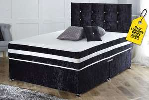 Crushed Velvet Divan Bed With Memory Spring Mattress & Headboard - 3 Colours!  £158.99 @ Wowcher