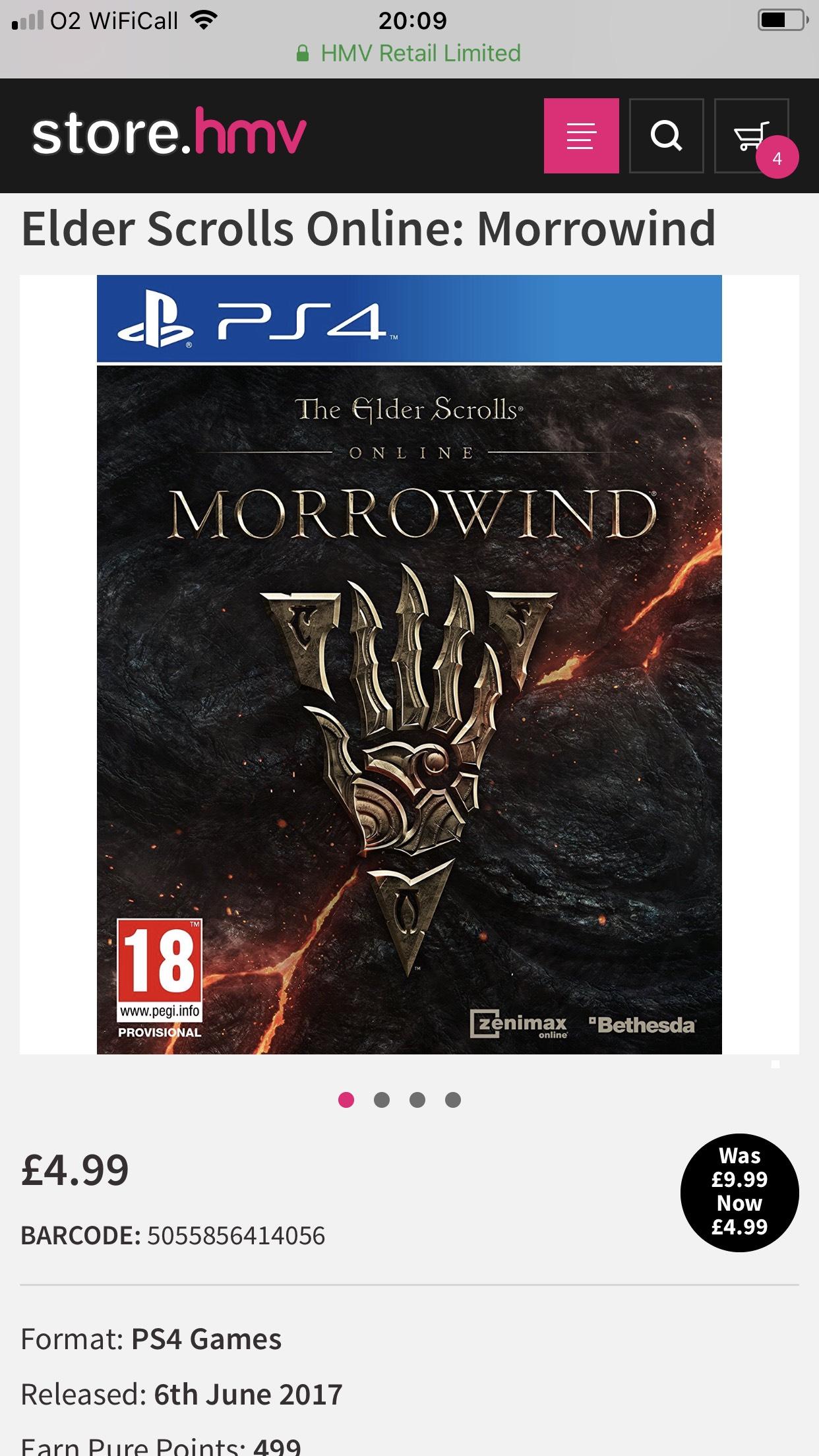 Elder Scrolls Online: Morrowind - £4.99 @ HMV (C&C)