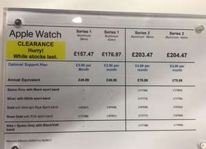 Apple Watch Series 1 CLEARANCE - Currys Instore (London) - £157.47
