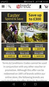 Easter spend and save at tredz
