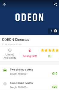 Groupon: 2 Odeon Cinema Tickets £10