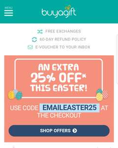 25% off this Easter @ Buyagift.