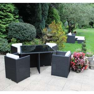 Bentley Garden Rattan 5 Piece Cube Furniture Set – Black & Cream £306.99 at buydirect4u