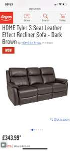 Tyler 3 seater recliner now £343.99 at Argos