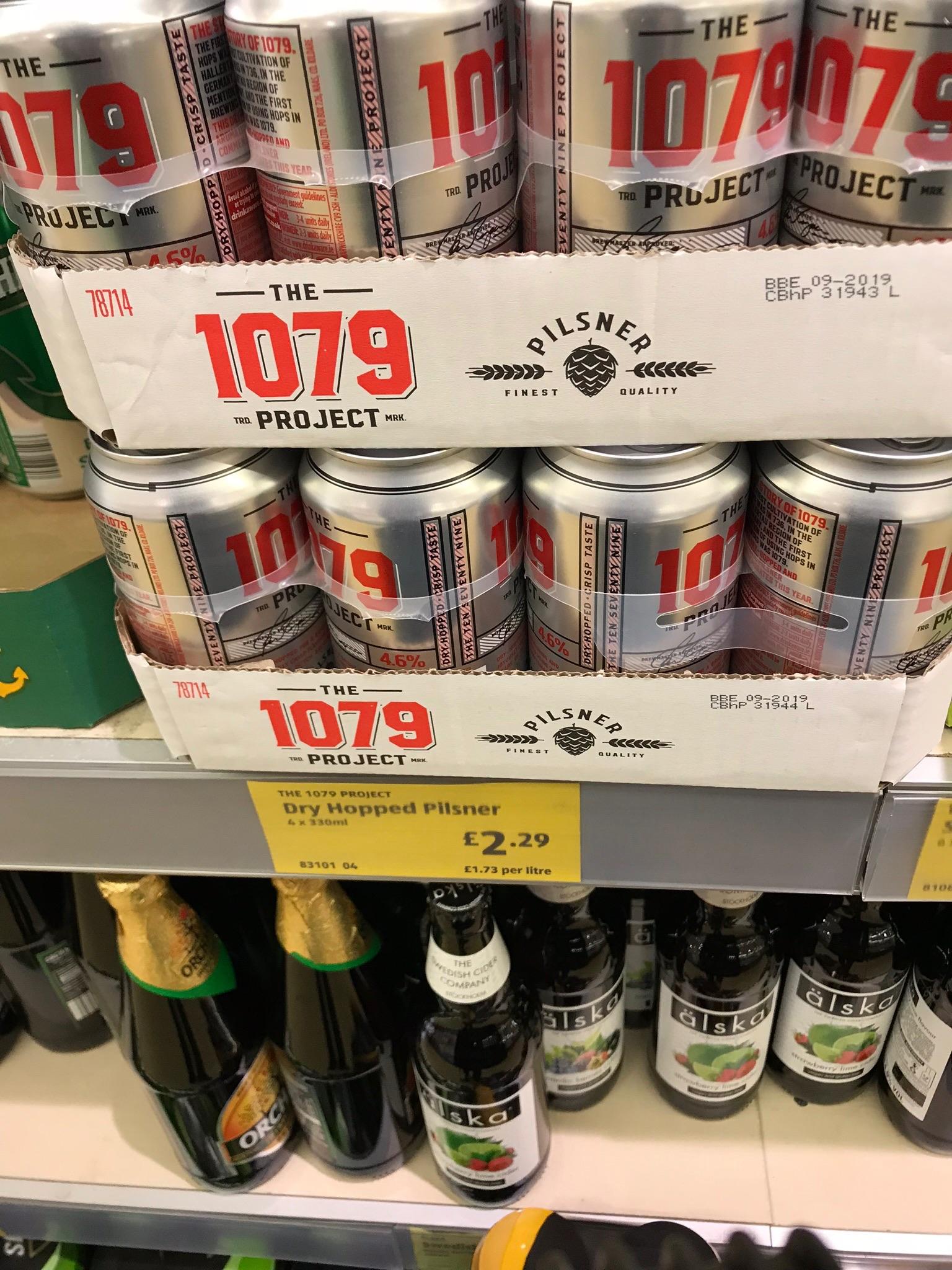 1079 Pilsner Lager 4 x 330ml cans £2.29 @ Aldi
