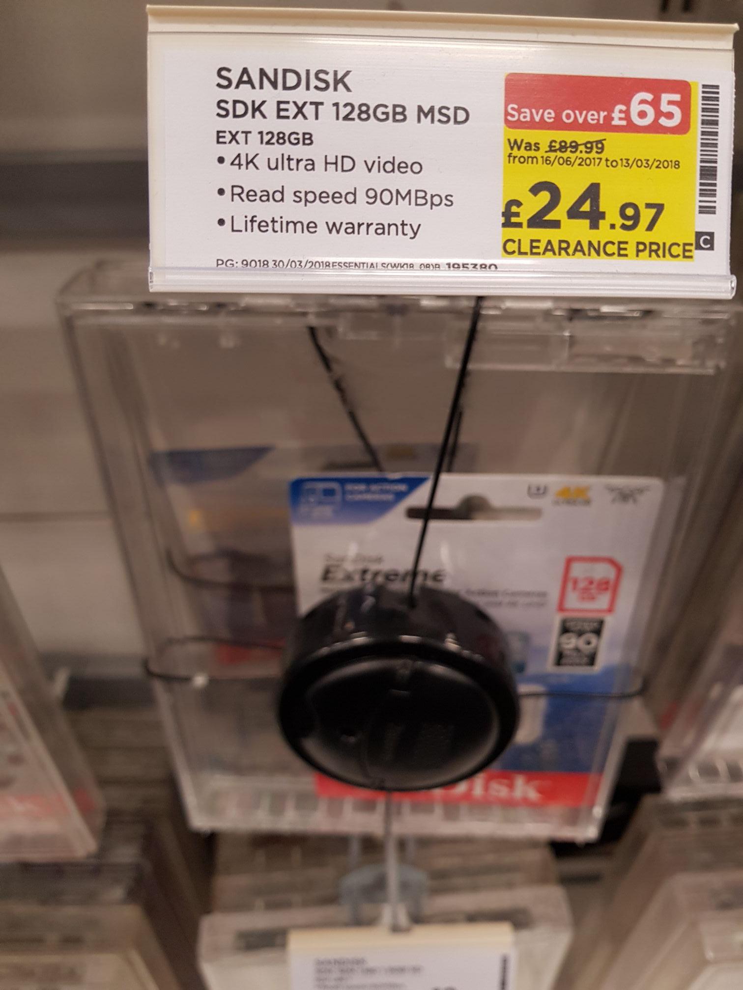SanDisk Extreme MicroSDXC 128GB 4K UHS3 V30 - 24.99 in Currys PCWorld