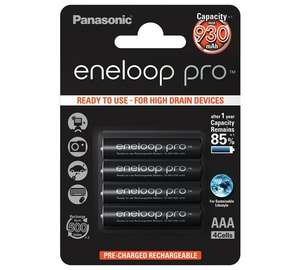 Eneloop Pro 930 MAh Rechargeable AAA Batteries 4 Pack £11.99 @ Argos