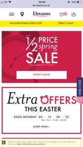 Up to 1/2 Spring Sale @ Dreams + Easter Sales