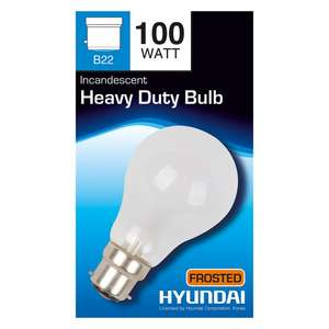 Hyundai 100W \ 60W \ 40W heavy duty frosted light bulb 49p @ Poundstretcher