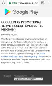 Possibly invite only. Google play In app purchases over £4 get a £1 discount/credit.