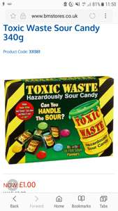 Toxic waste sour sweets (340g) just £1 was £2.99 @ B&M