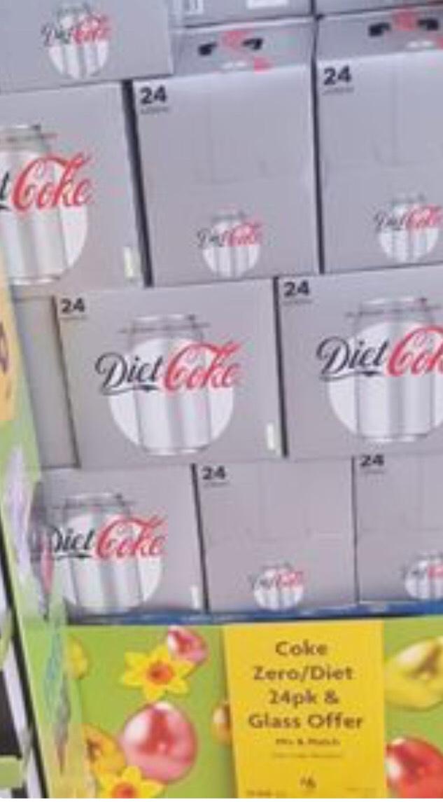24 Cans Of Coke / Diet Coke / Coke Zero + 3 Coca Cola Glasses - £6.00 @ Morrisons instore