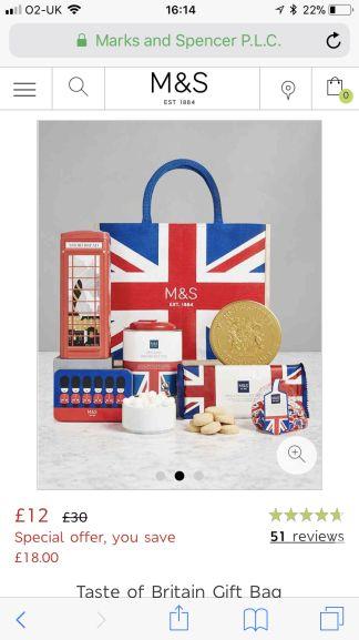 Marks and spencer taste of Britain gift bag hamper £12 - Free c&c