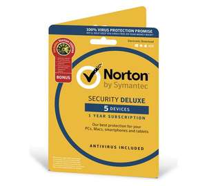 Norton Security DELUXE and UTILITIES 1 year 5 users £19.99 @ Argos