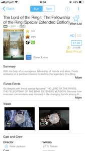 Lord Of The Rings Extended iTunes £7,99 each