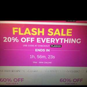20% off everything @the fragrance shop use code FLASH20. From 7pm-9pm tonight!