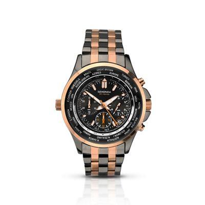 Sekonda Men's *world timer* multi coloured bracelet watch + 2 yrs guarantee £36 was £120 @ Debenhams