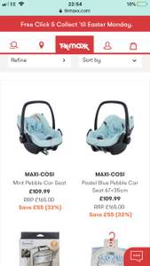 Maxi cosi pebble car seat Group 0+ £109.99 @ TKMaxx