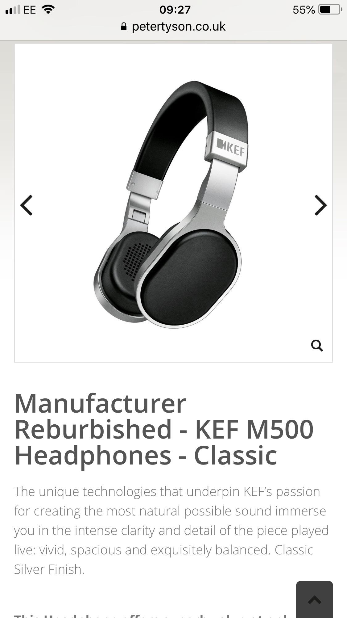 Manufacturer Reburbished - KEF M500 Headphones - Classic - £79 @ Peter Tyson