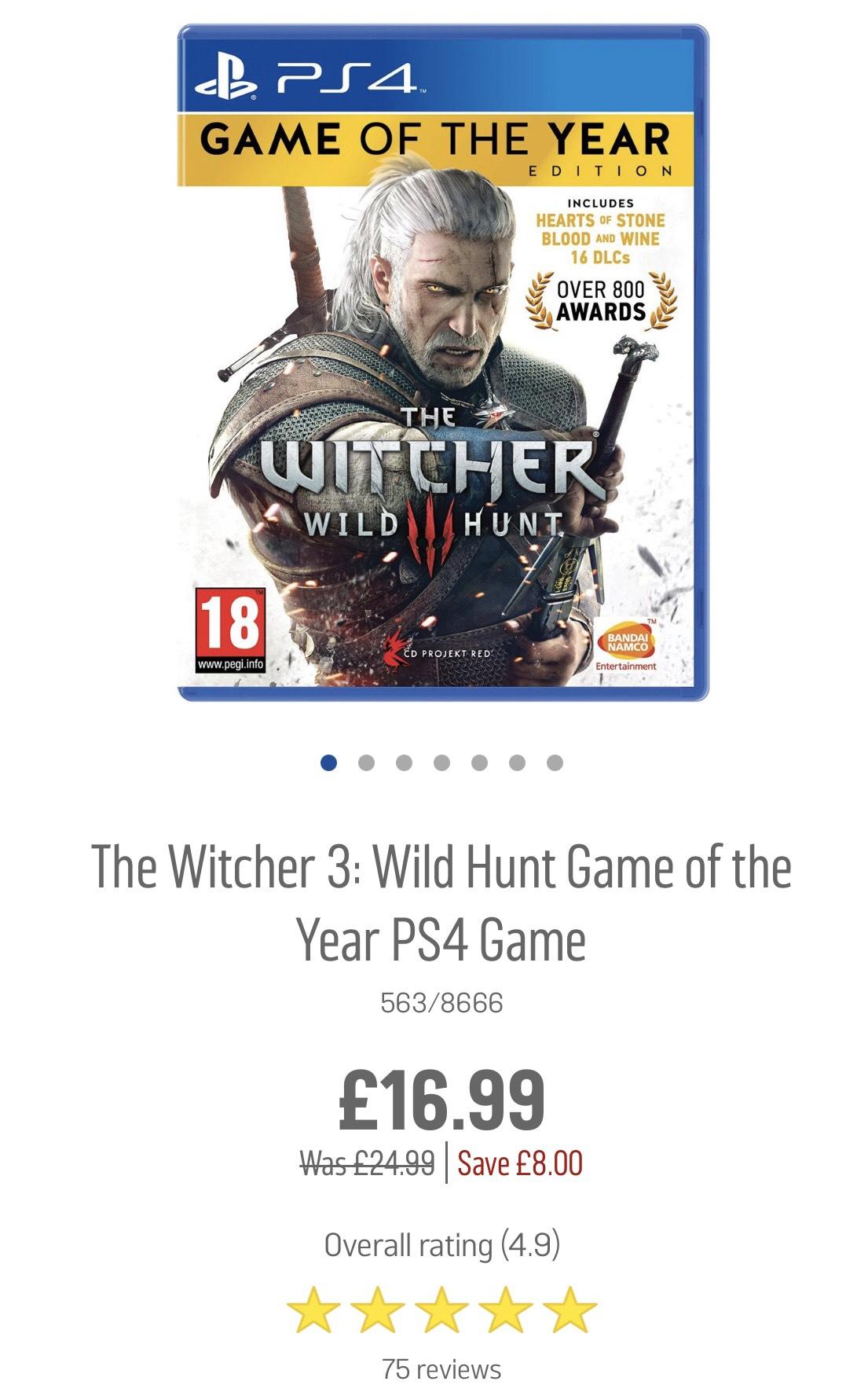 The Witcher 3: Wild Hunt GOTY PS4 & Xbox One @ Argos
