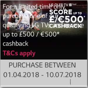 LG Cashback Offer World Cup Promo £300-£500 Cashback on various TV's including the NEW OLED B8 / C8 / E8 / G8 2018 Models