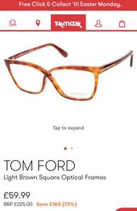 Tom Ford Glasses Frames @ TK Maxx - £59.99