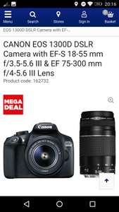 Canon EOS 1300D with 18-55mm and 75-300mm lens - £349.99 @ Currys