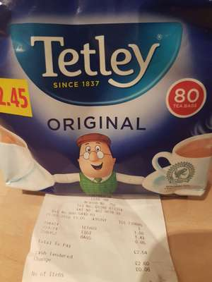 Tetley tea bags 80 pack £1 @ poundstretcher