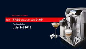 Free gifts worth up to £145 with Selected De'Longhi Bean to Cup coffee machines via redemption at De'Longhi UK