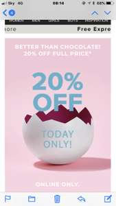 River Island have 20% off everything on womens, mens and kids - excludes sale. One day only