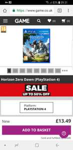Horizon zero dawn PS4 £13.49 New @ GAME