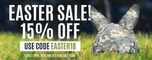 Camping, hiking, services and outdoor equipment suppliers 15% off with code Easter18 @ Military1st