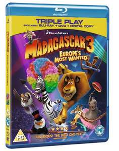 Madagascar 3: Europe's Most Wanted - Triple Play (Blu-ray + DVD + Digital Copy) [Region Free] £4.99 Prime / £6.98 Non Prime @ Amazon
