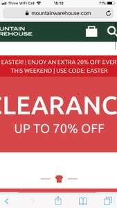 70% clearance sale + EXRA 20% using code - Mountain Warehouse