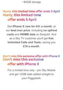 IPhone X £41 per month 24 months - £984 with Sky (members)
