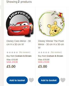Disney Cars Mirror / Disney Winnie The Pooh Mirror £5 at Tesco sold by Graham & Brown delivery £3