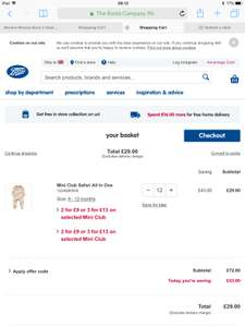 Offer Stack - Boots 2 for £9, 3 for £13 offer giving extra discount. 12 items for £29 on selected baby clothes @ Boots