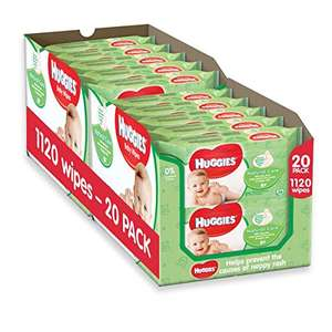 Huggies Natural Care Baby Wipes - 20 Packs (1120 Wipes Total) - was £13.35 now £8.33 or £7.91 (S & S) @ Amazon ( Prime Exclusive)