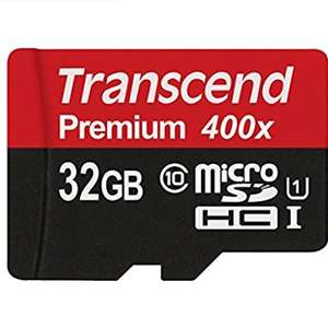 Transcend Premium 400X 32GB - With ECC (Recommended for DASHCAM in reviews) Class 10 (U1) MicroSDHC Memory Card £10.80 / £14.79 non prime @ amazon