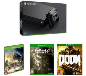 Xbox One X bundle Doom , fallout 4 & Assassin's creed origins  £449.99 @ Currys