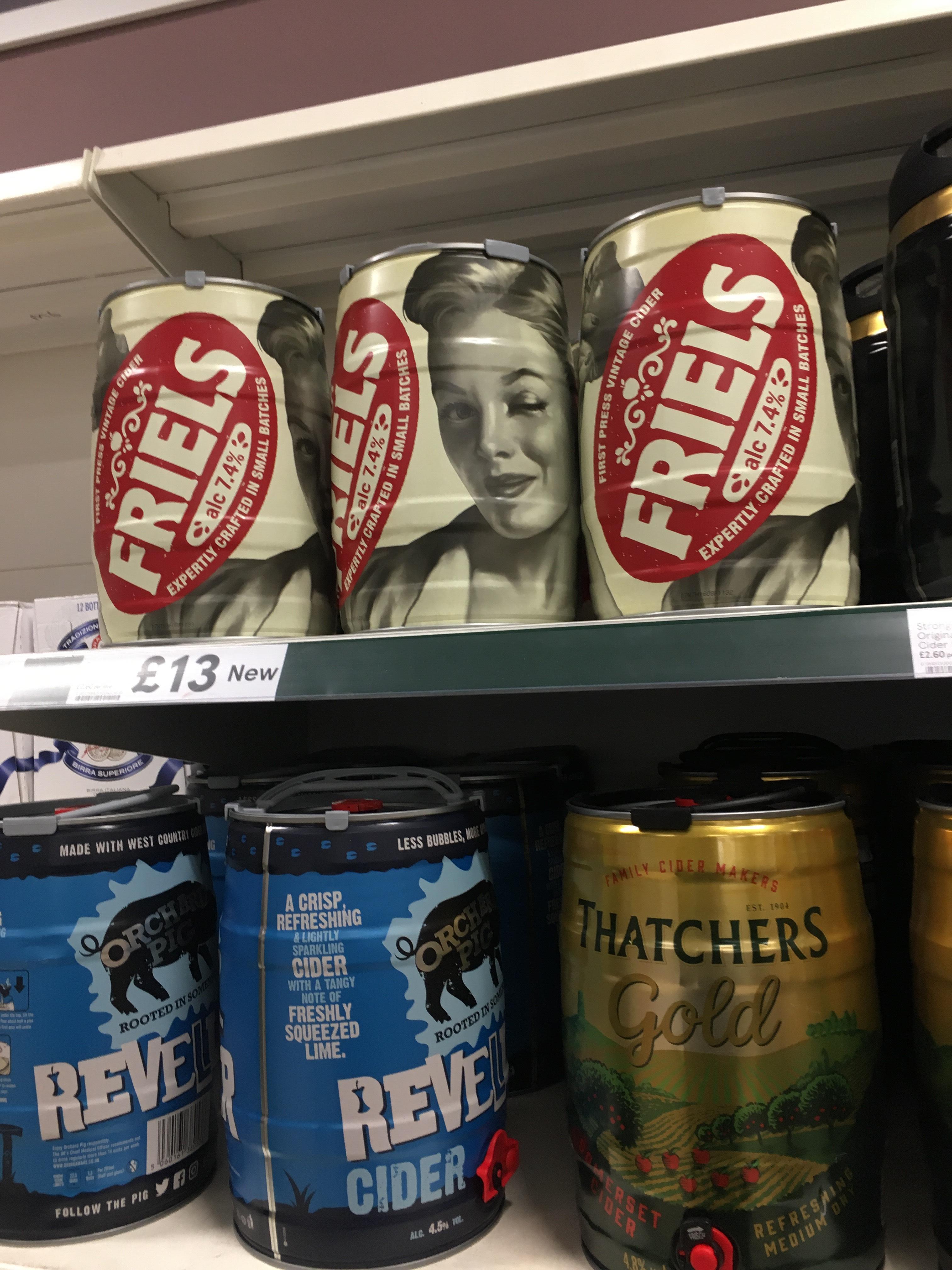 Friels vintage cider 5L keg £13 at Tesco (7.4% alcohol)